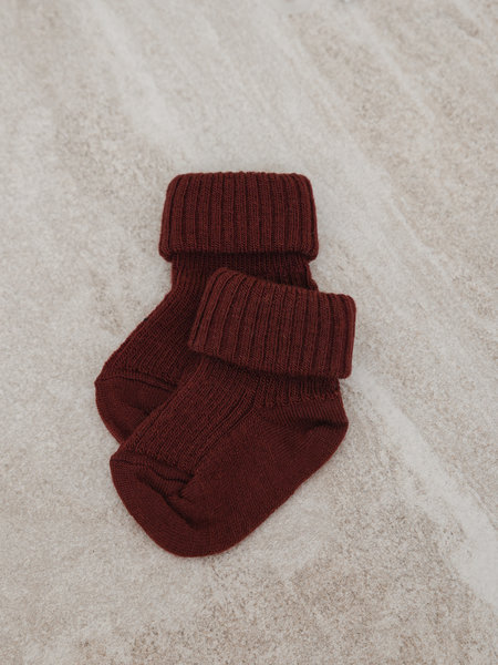 MP Denmark Baby Socks Wool Rib Red