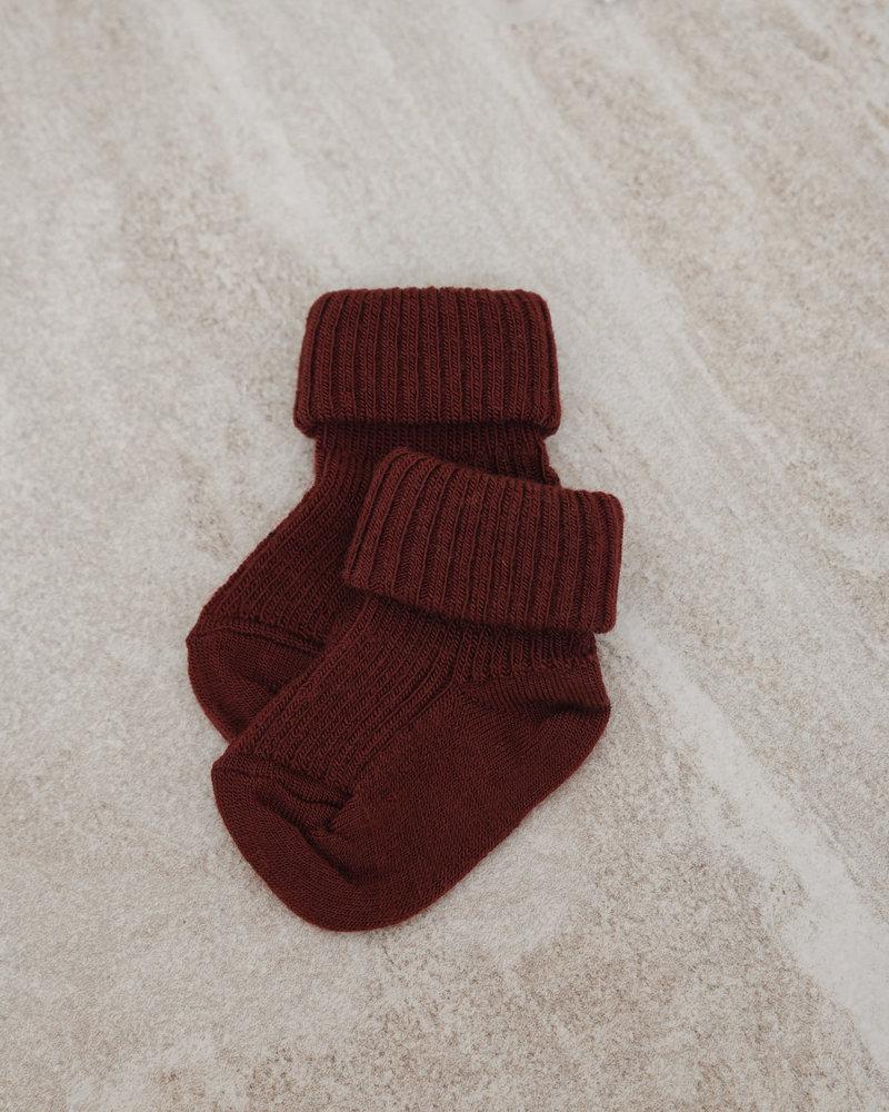 Baby Socks Wool Rib Red