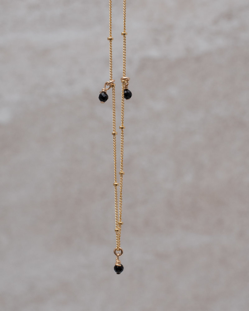 Goldfilled Necklace Galaxy Three Onyx