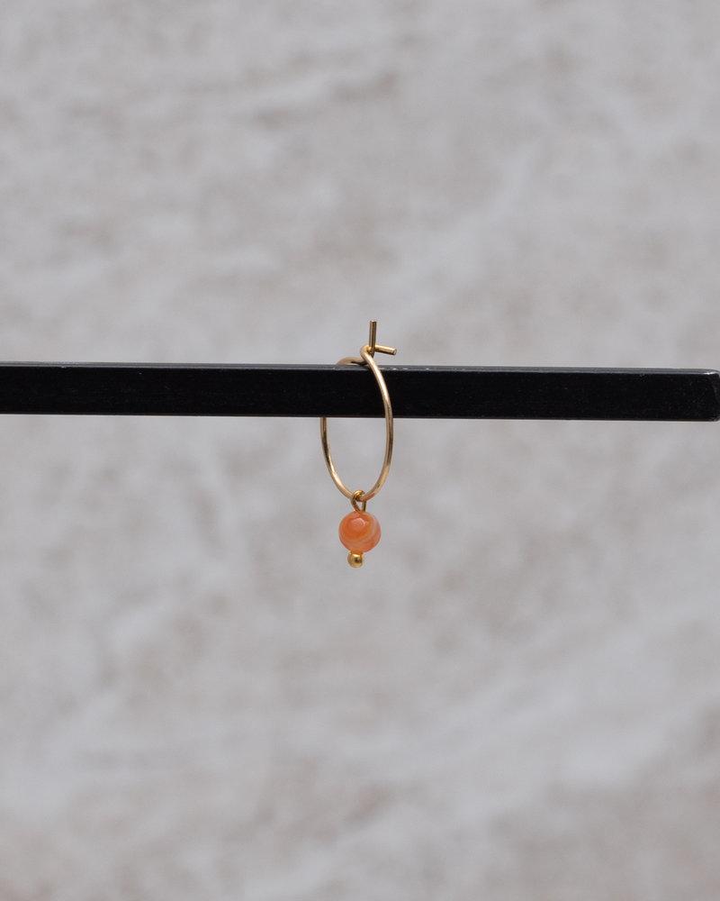 Mini Hoop Orange Bead