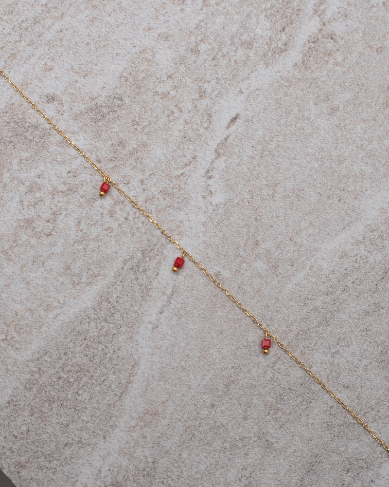 Square Bead Bracelet Red