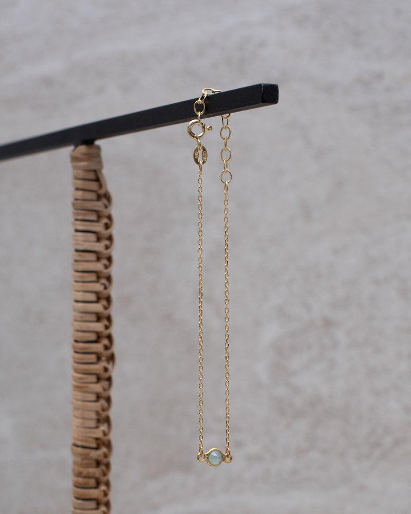 Gold Bracelet Mini Dot Light Blue