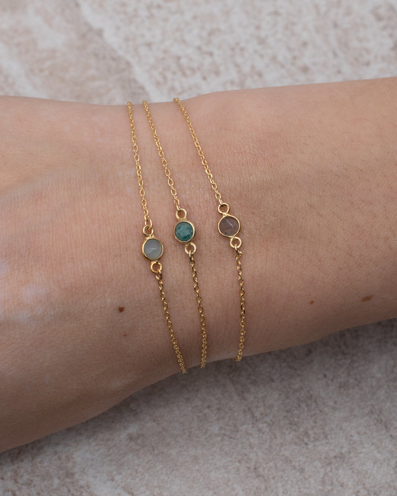 Gold Bracelet Mini Dot Green