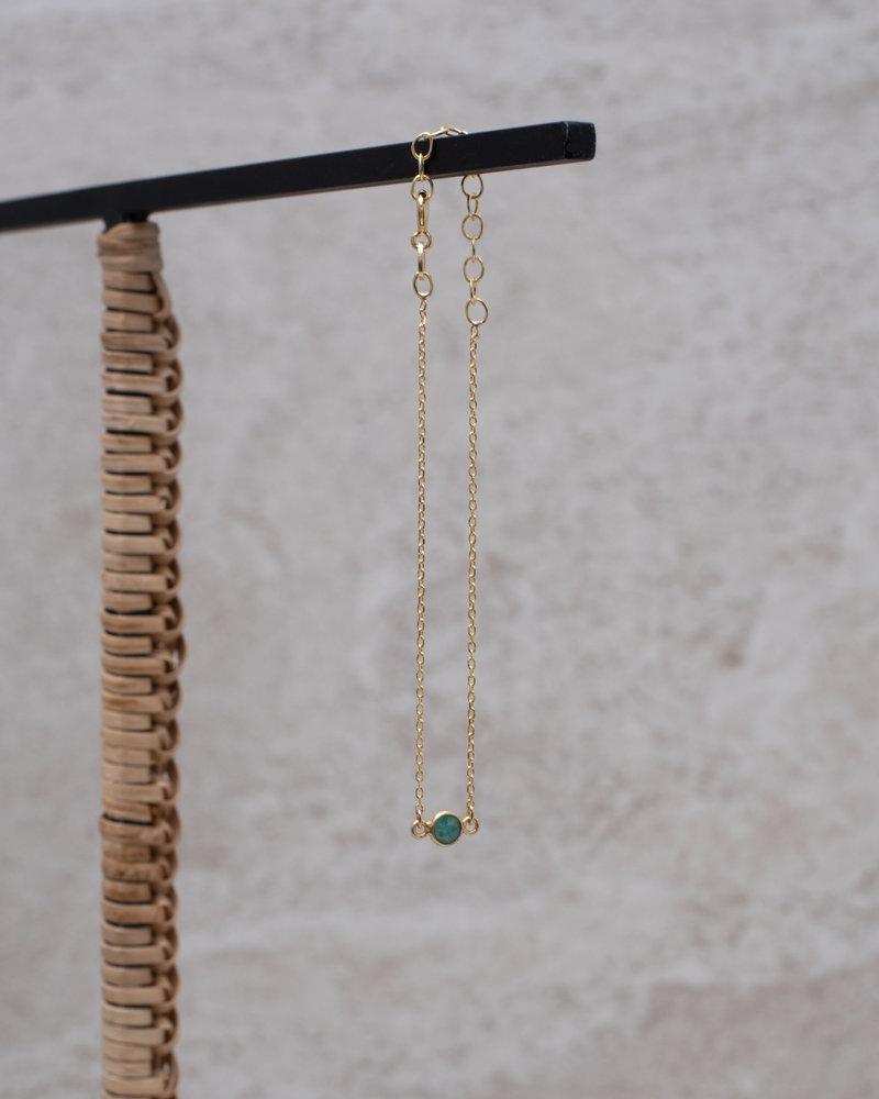 Gold Bracelet Mini Dot Green