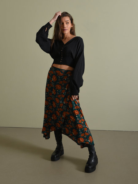 Things I Like Things I Love TILTIL Mandy Wrap Skirt Petrol Flowers