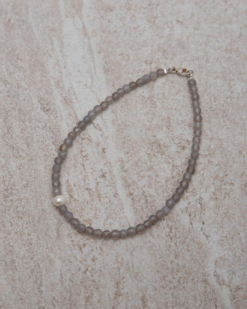 Silver Lining Ankle Bracelet Pearl