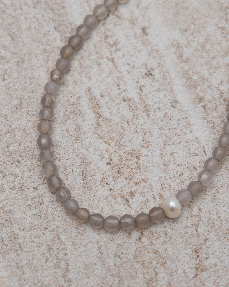 Silver Lining  Ankle Bracelet Gold Pearl