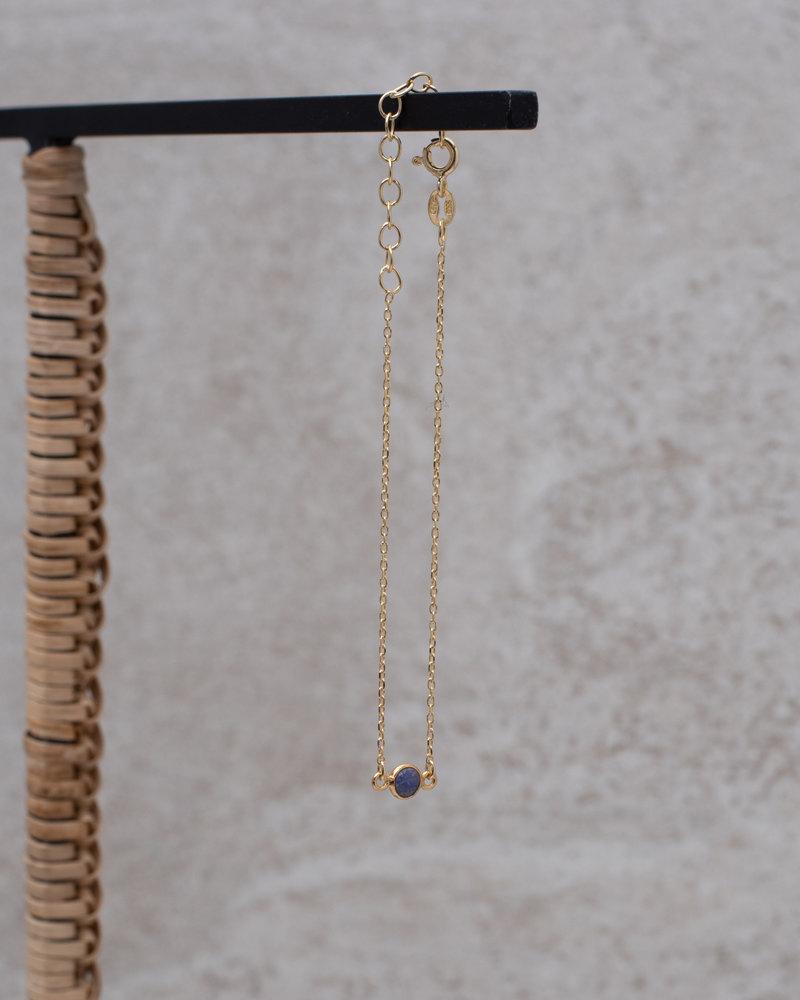Gold Bracelet Mini Dot Purple