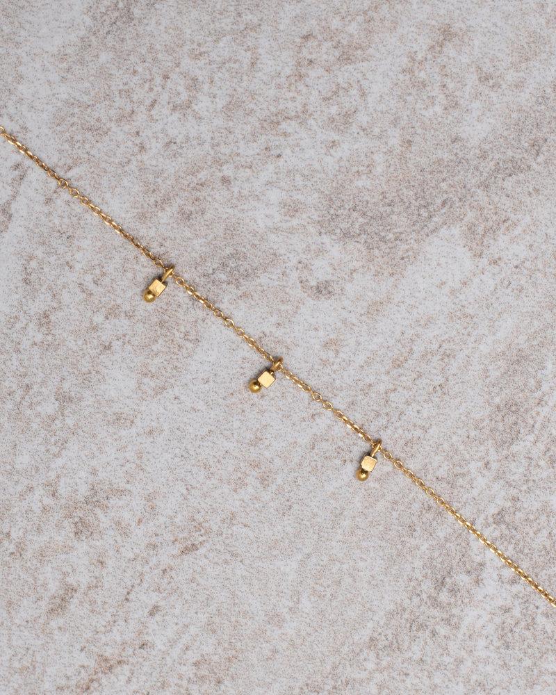 Square Bead Bracelet Gold