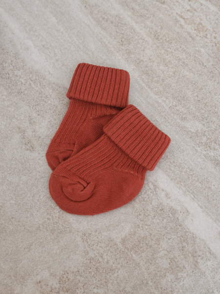 MP Denmark Baby Socks Cotton Rib Marsala