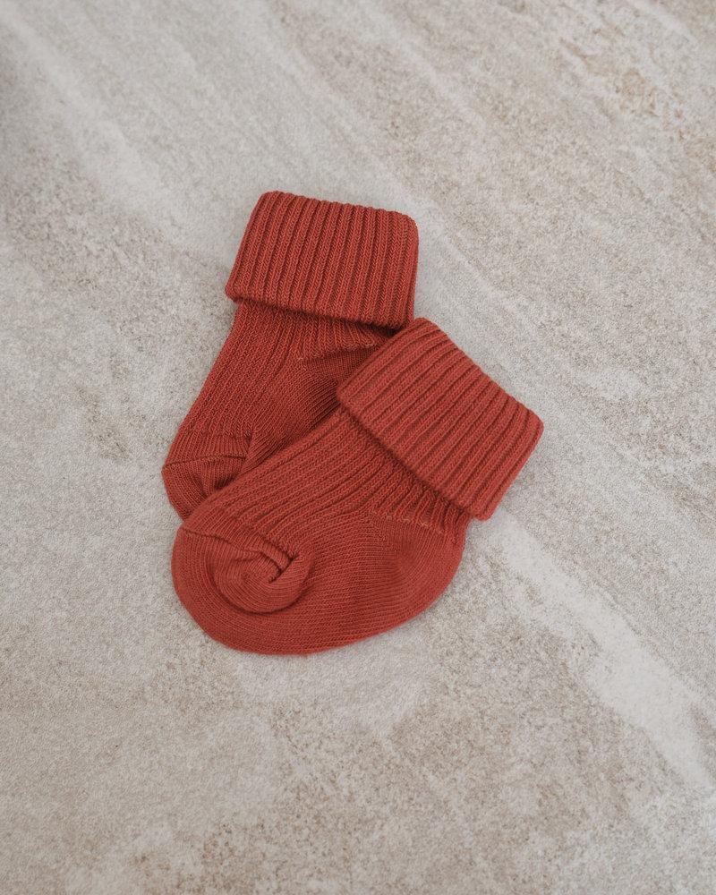 Baby Socks Cotton Rib Marsala