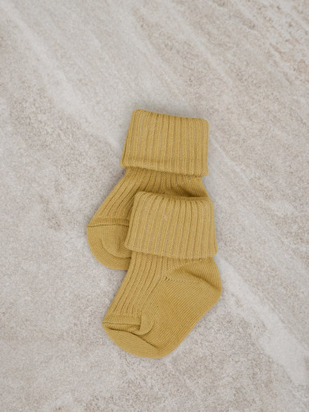 MP Denmark Baby Socks Cotton Rib Ocher