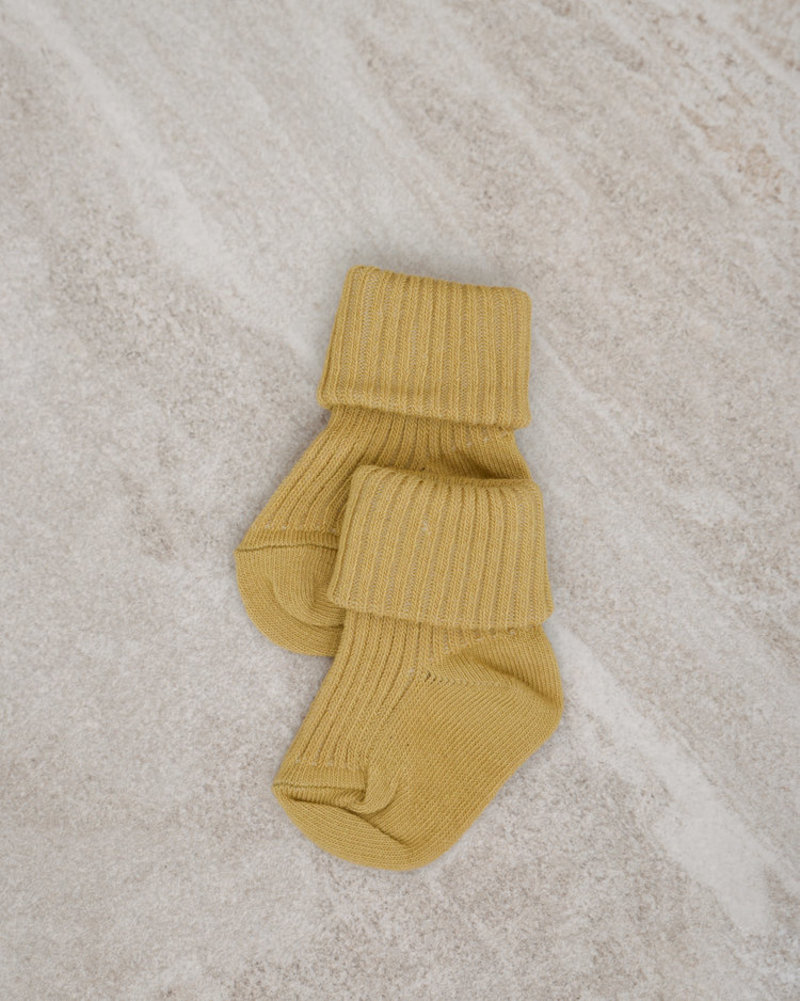 Baby Socks Cotton Rib Ocher