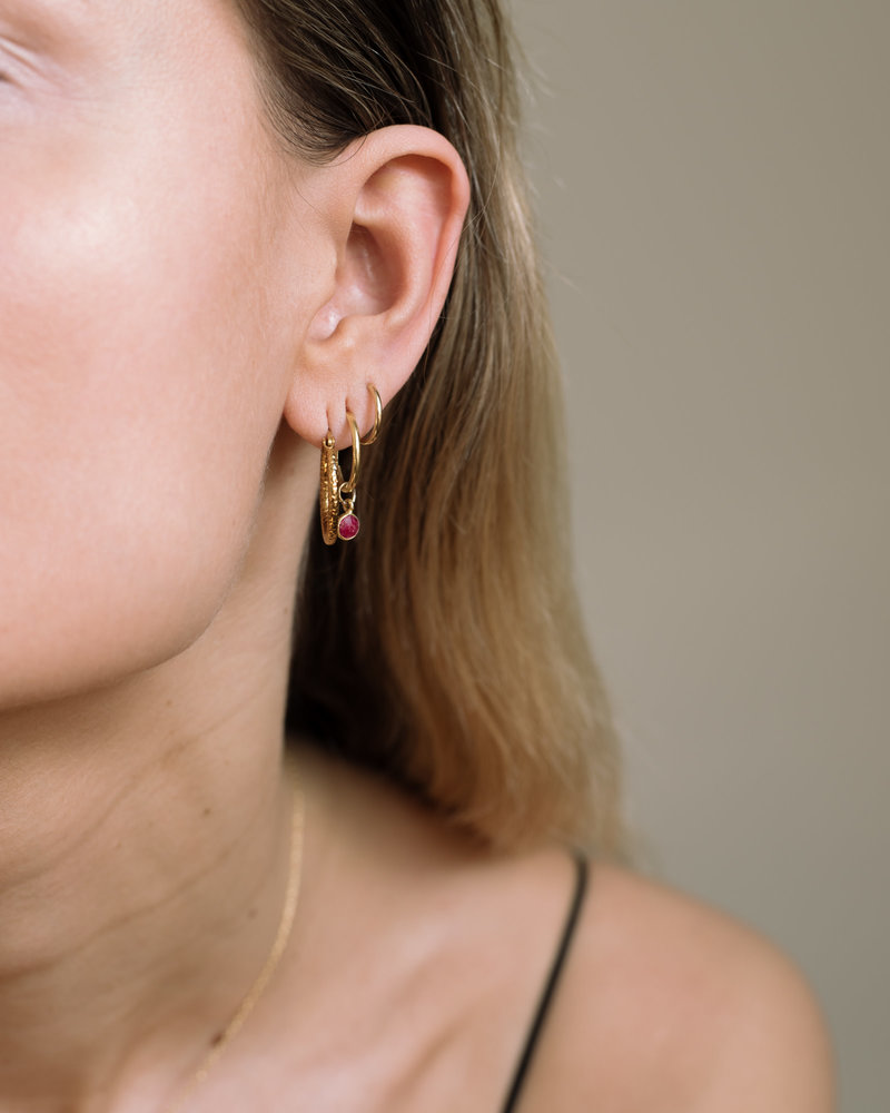 Simple Dot Earring Red