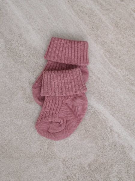 MP Denmark Baby Socks Cotton Rib Wishful Rose