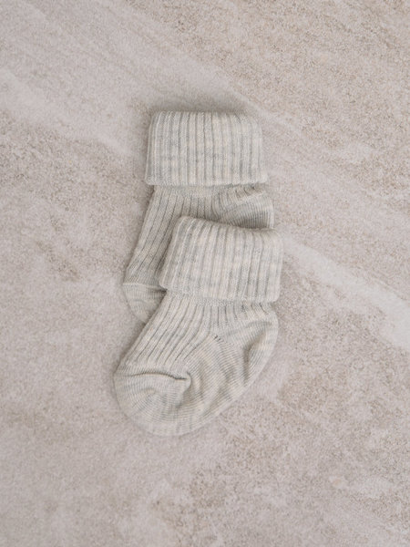 MP Denmark Baby Socks Cotton Rib Light Grey Melange