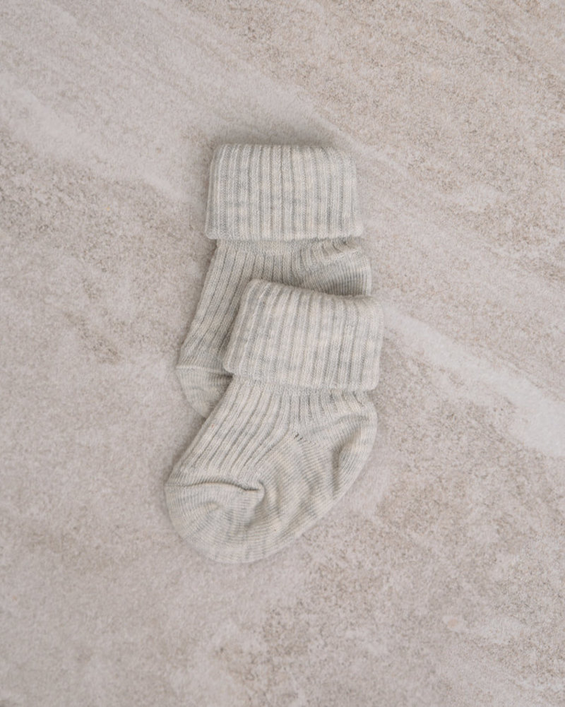 Baby Socks Cotton Rib Light Grey Melange