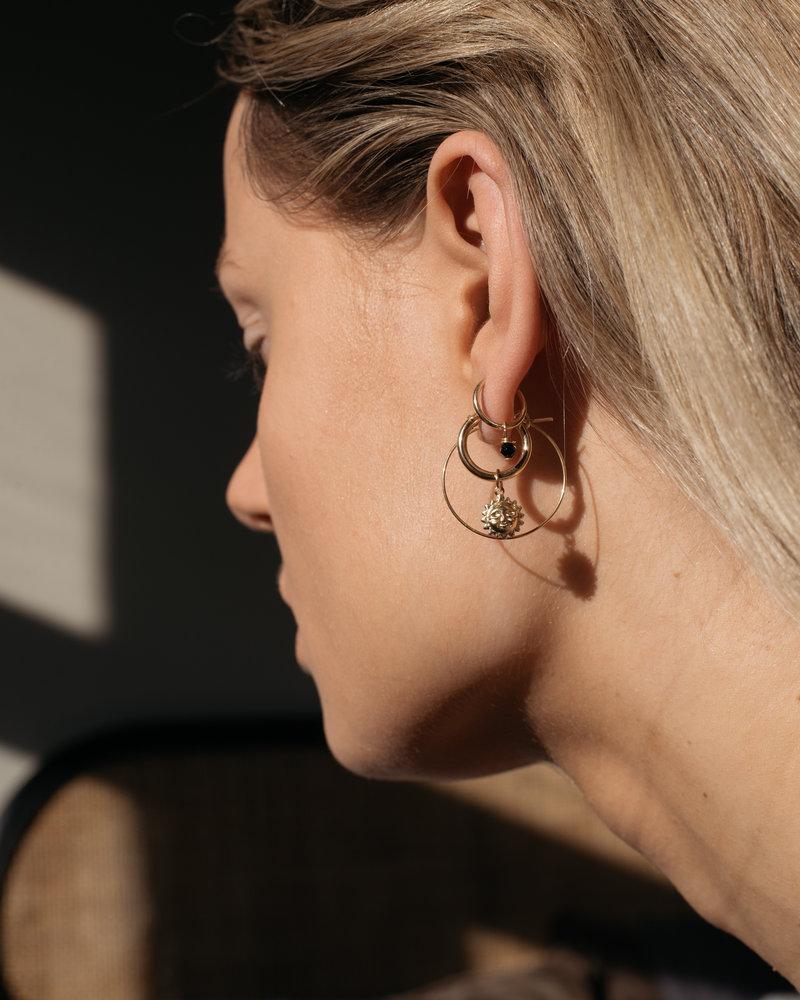 Earring Hoop Onyx Goldfilled