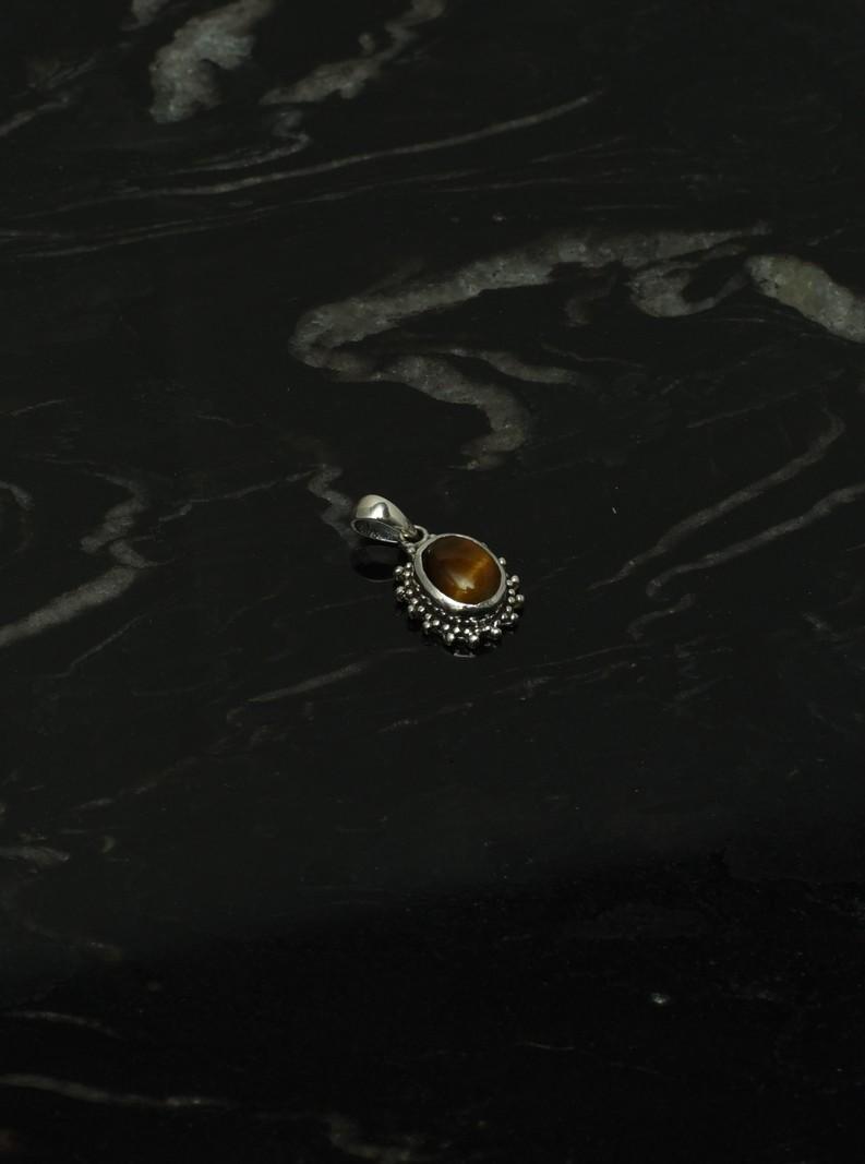 Brown Stone Pendant Silver