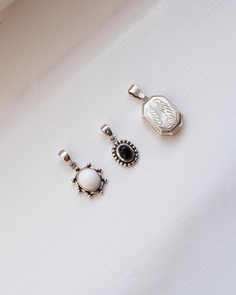 White Stone Pendant Silver
