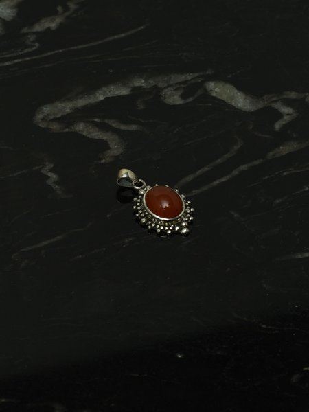 Things I Like Things I Love Red Stone Pendant Silver