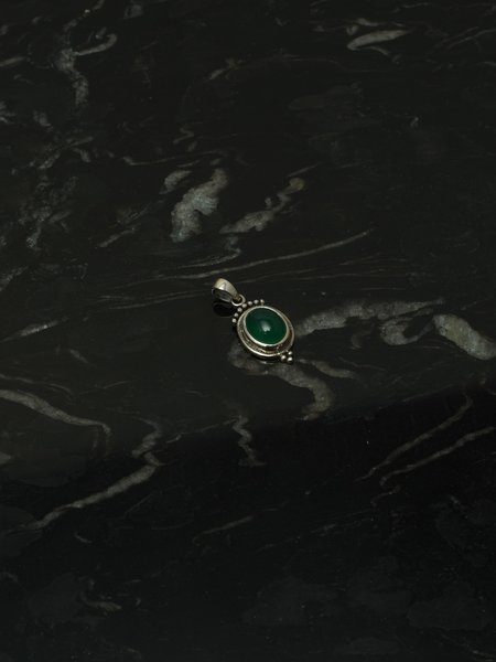 Things I Like Things I Love Green Stone Pendant Silver