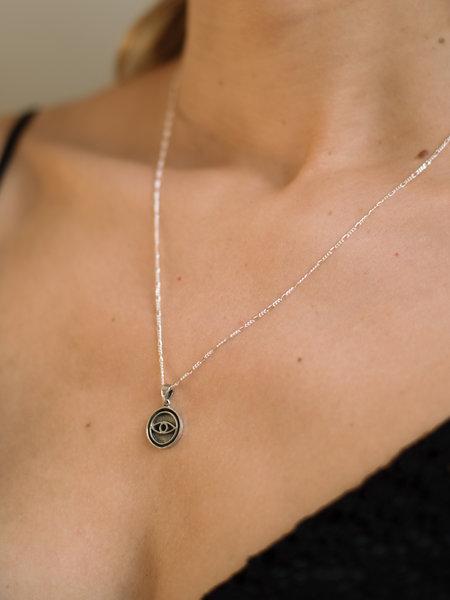 Things I Like Things I Love Round Eye Pendant Silver