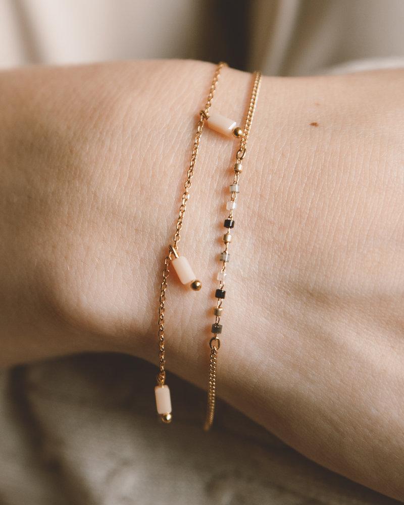 Square Bead Bracelet Pink