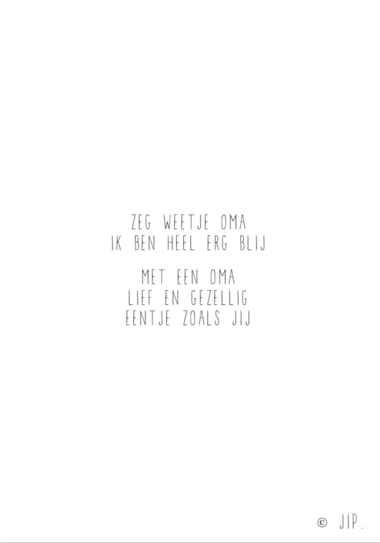 JIP. Postcard - Zeg Weetje Oma