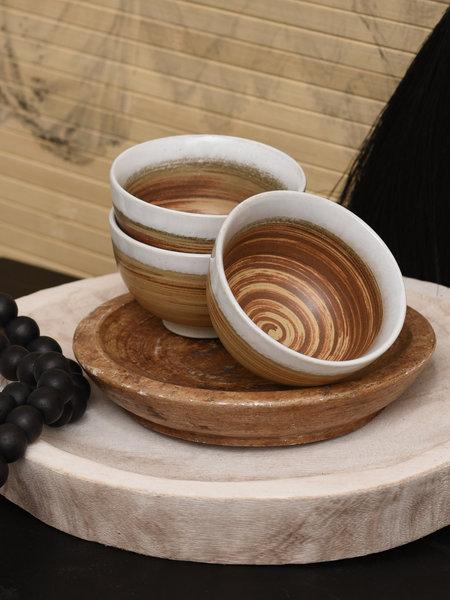 HK Living Bowl Ceramic Brown/White