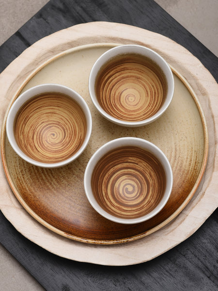 HKliving Bowl Ceramic Brown/White