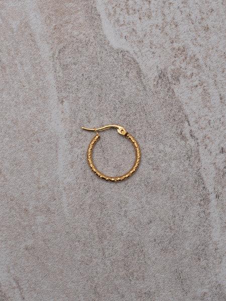 Hammered Hoop 15 MM Gold