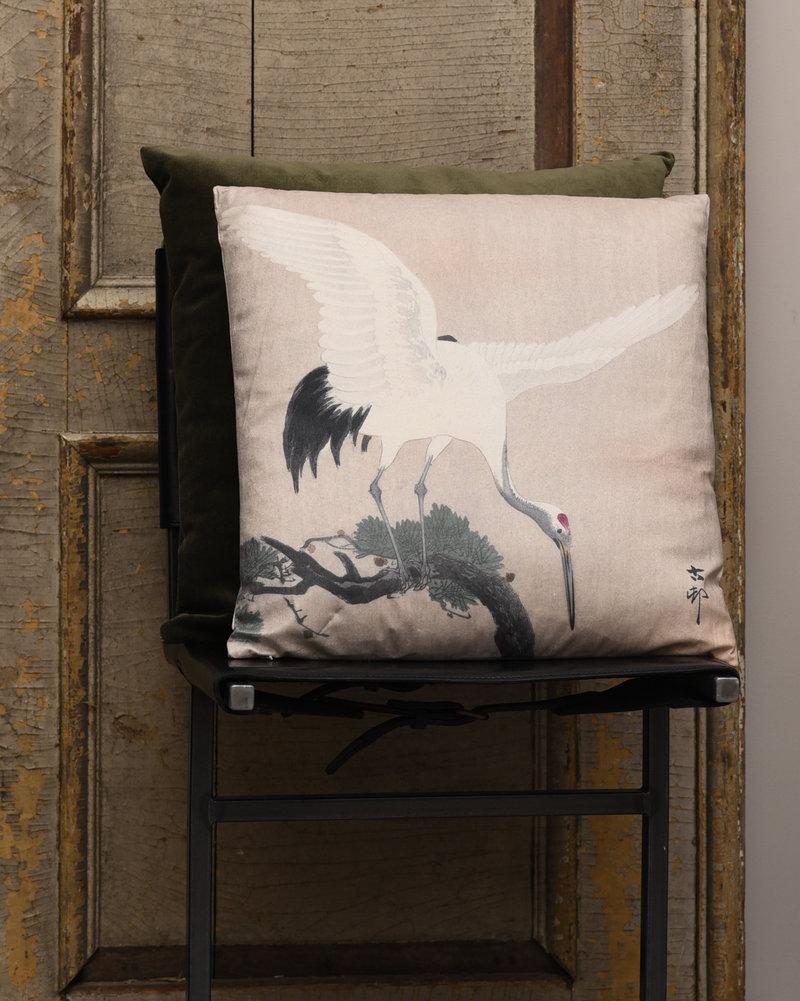 Cushion Crane Bird Beige