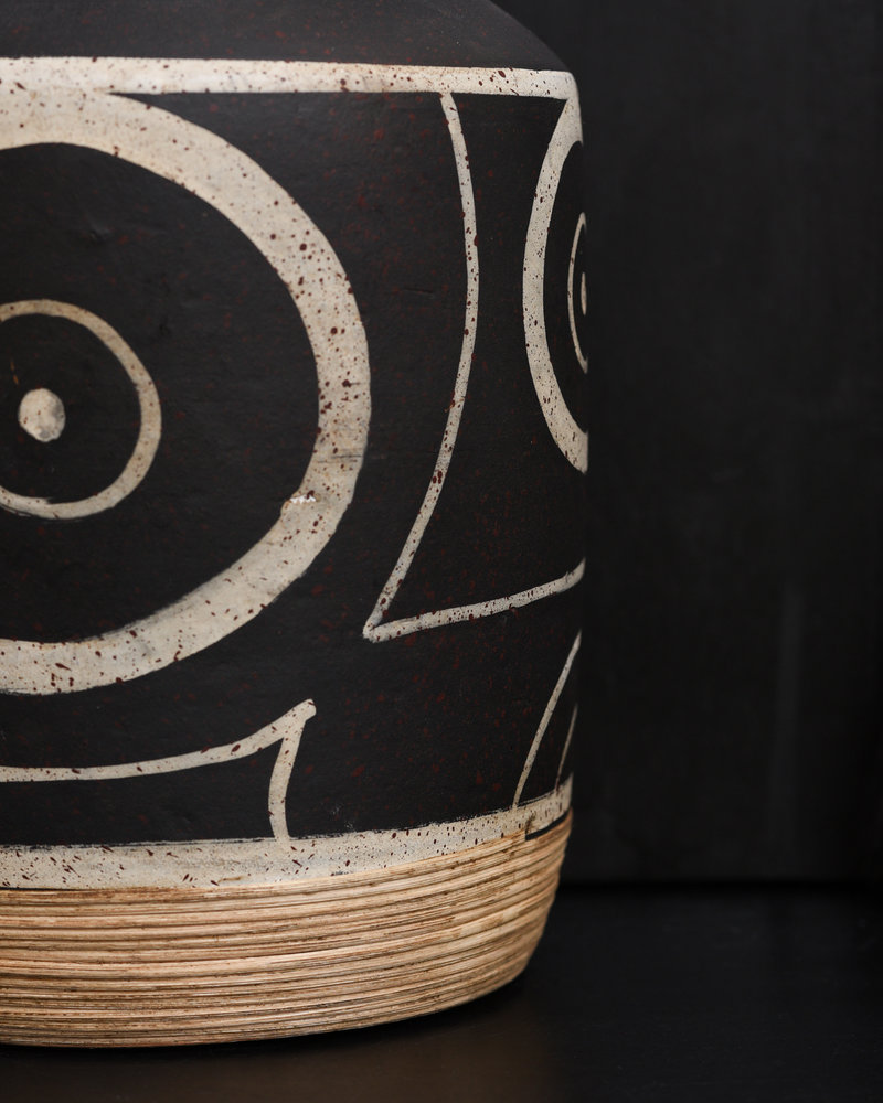 Vase Black With Ears
