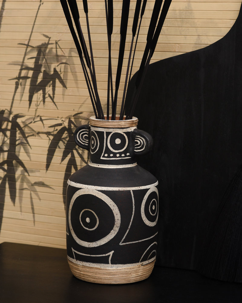 Vase Black With Ears