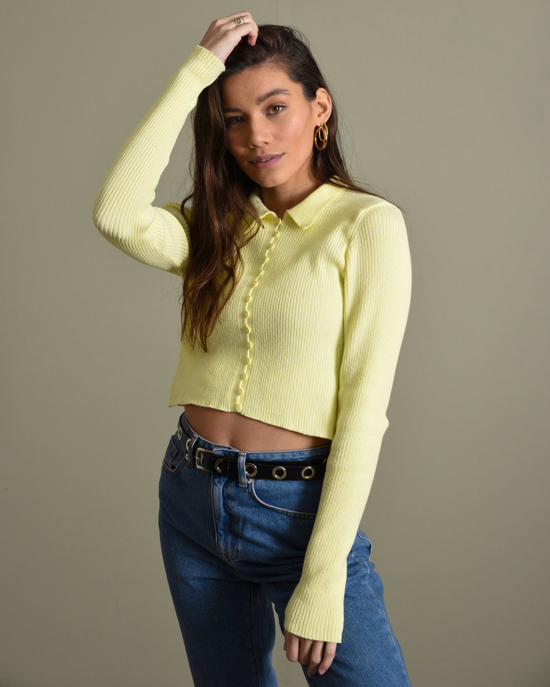 Loop Button Cardigan Yellow
