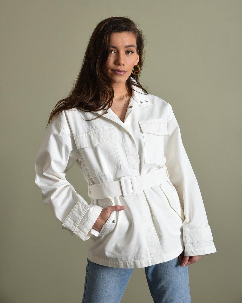 Belted Oversized Denim Jacket Ecru