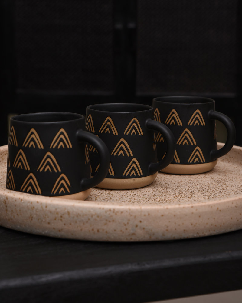 Mug Wax Resist Triangles Black