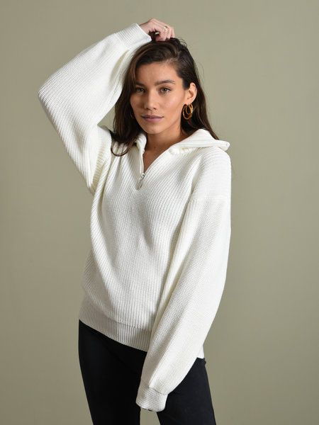 NAKD Half Zip-Up Sweater White
