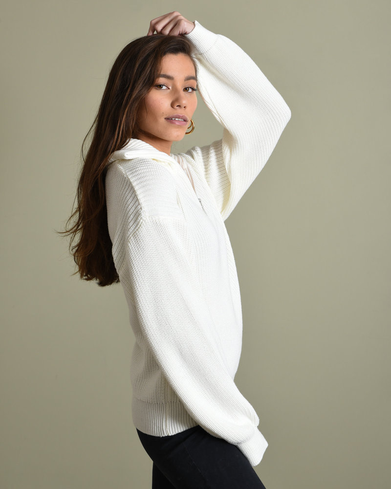 Half Zip-Up Sweater White