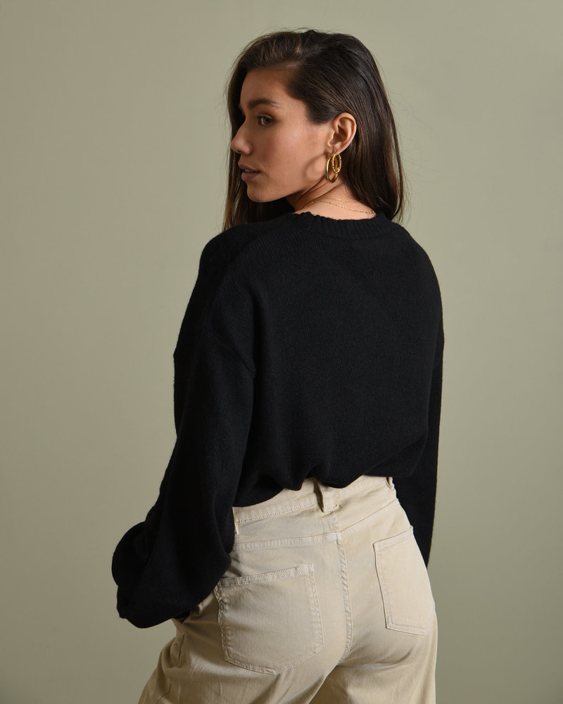 Short Chunky Knit Cardigan Black