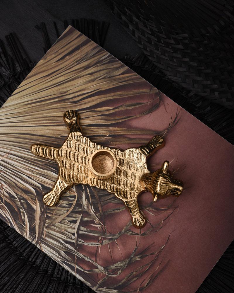 Candle Holder Tiger Gold