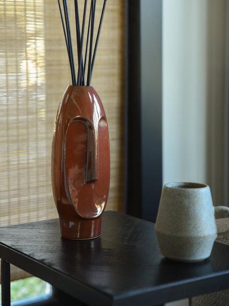 Vase Face Stoneware Brown