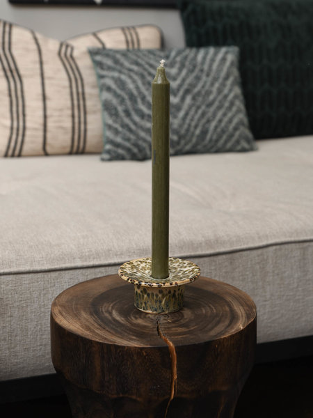 Candle Holder Green Stone