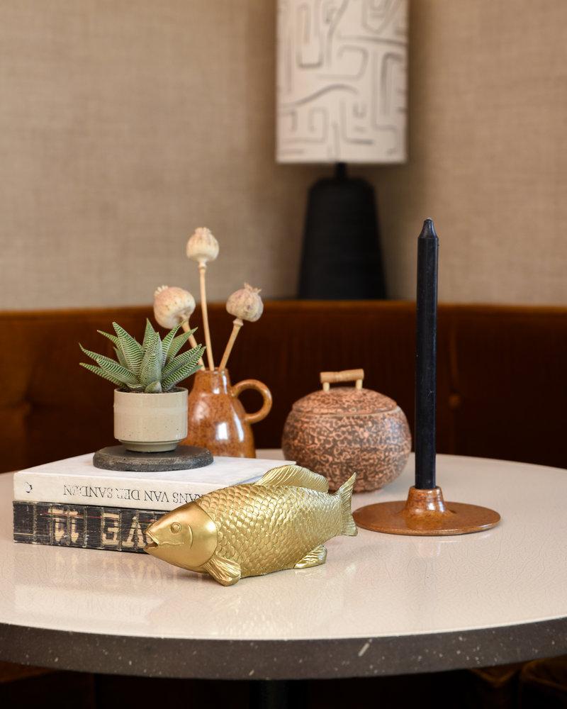 Jar w/Lid Brown Bamboo
