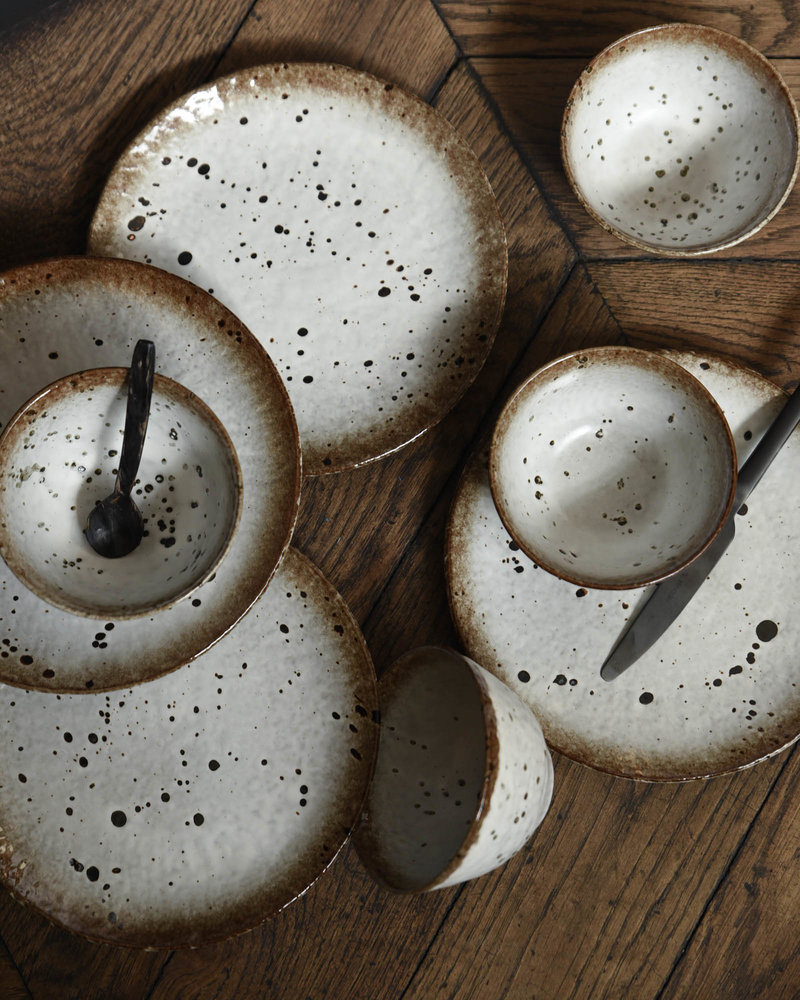 Small Bowl Stoneware White/Brown