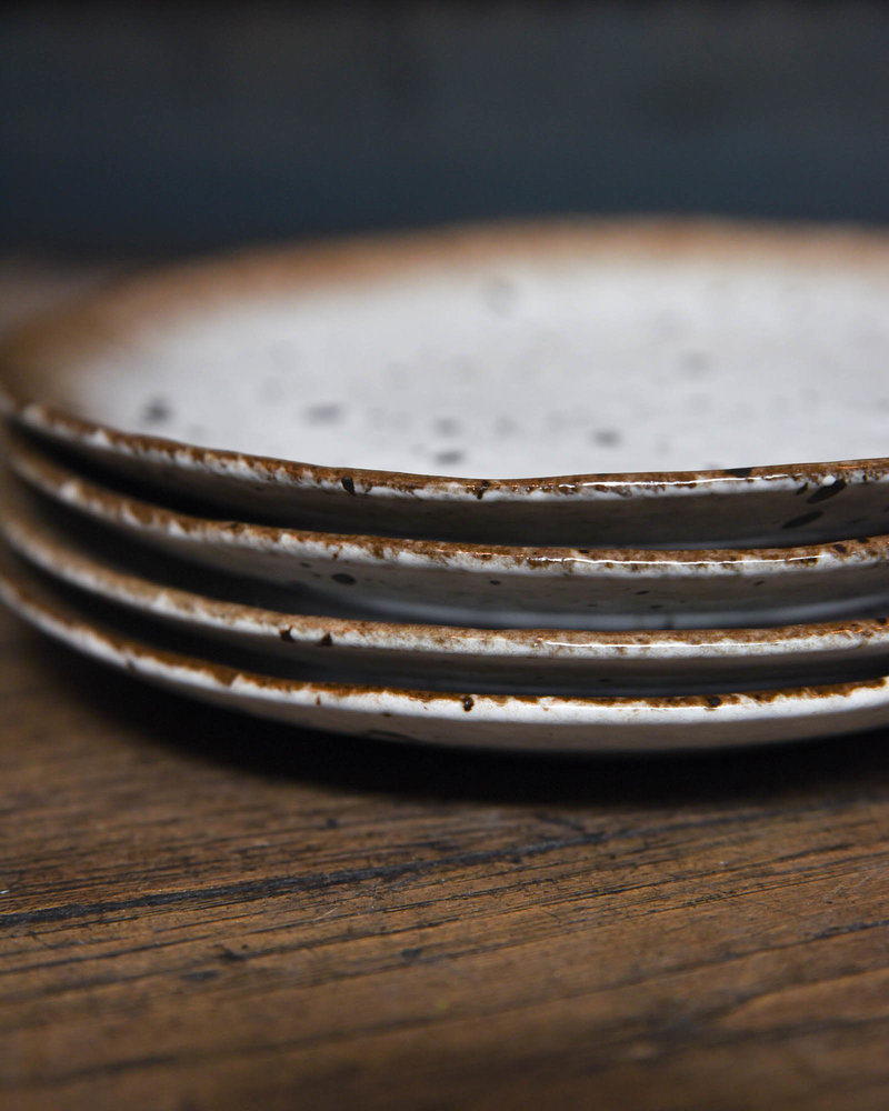 Breakfast Plate White/Brown