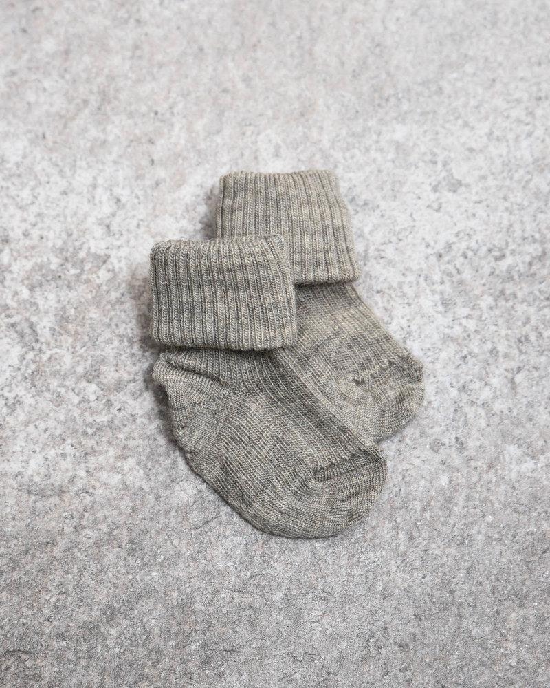 Baby Socks Beige/Grey Rib