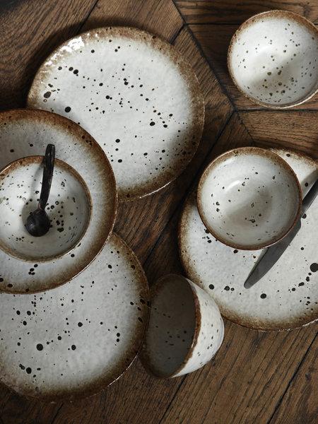 Madam Stoltz Dinner Plate Stoneware White/Brown