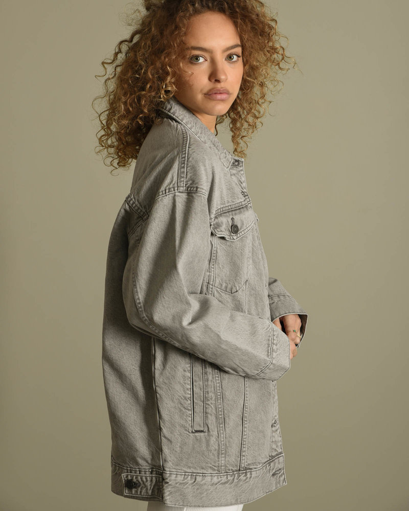 Fiona L/S Denim Jacket Light Grey